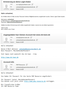 Screenshot Passwort-Reminder-Mails schlach.com, NB-Town, php-resource.de